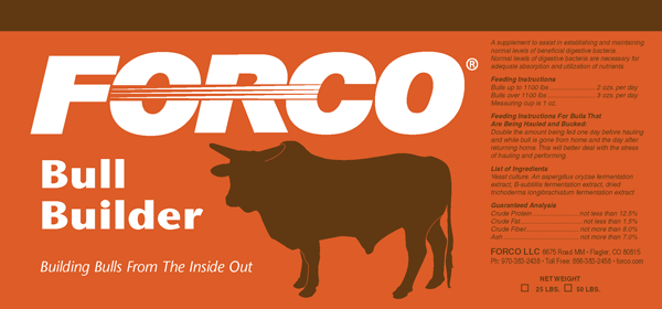 Forco Bull Builder Feed Supplement Product Label