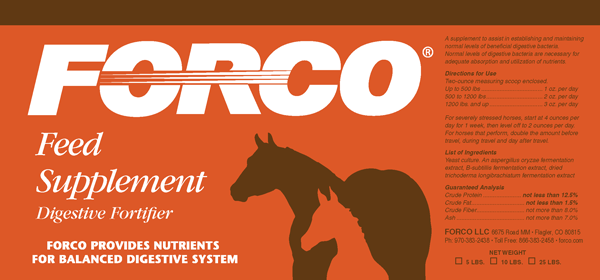 Forco Feed Supplement Digestive Fortifier Product Label